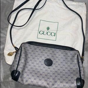 Gucci Blue Leather Monogrammed Crossbody Bag